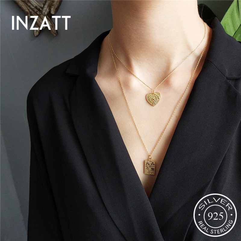 INZATT Vintage Geometric Gold Heart Square Pendant Necklace 925 Sterling Silver Fashion Jewelry 45CM 55CM Chain For Women Gift