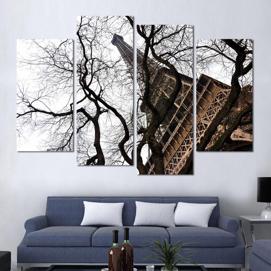 4 unids moderna sala de estar de pintura decorativa blanco y Negro ...