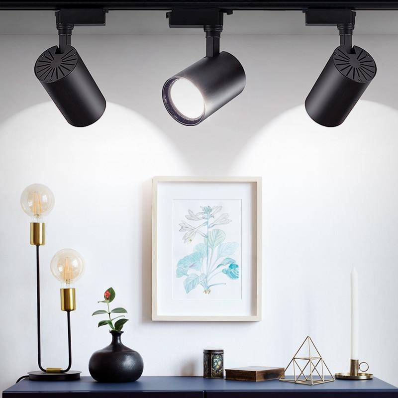 COB Led Track Light Rail Lamp 220V Track Lighting Spotlight Aluminum Spot Rail Spotlights 12W 20W 30W Clothing Shop Showrooms in Track Lighting from Lights Lighting