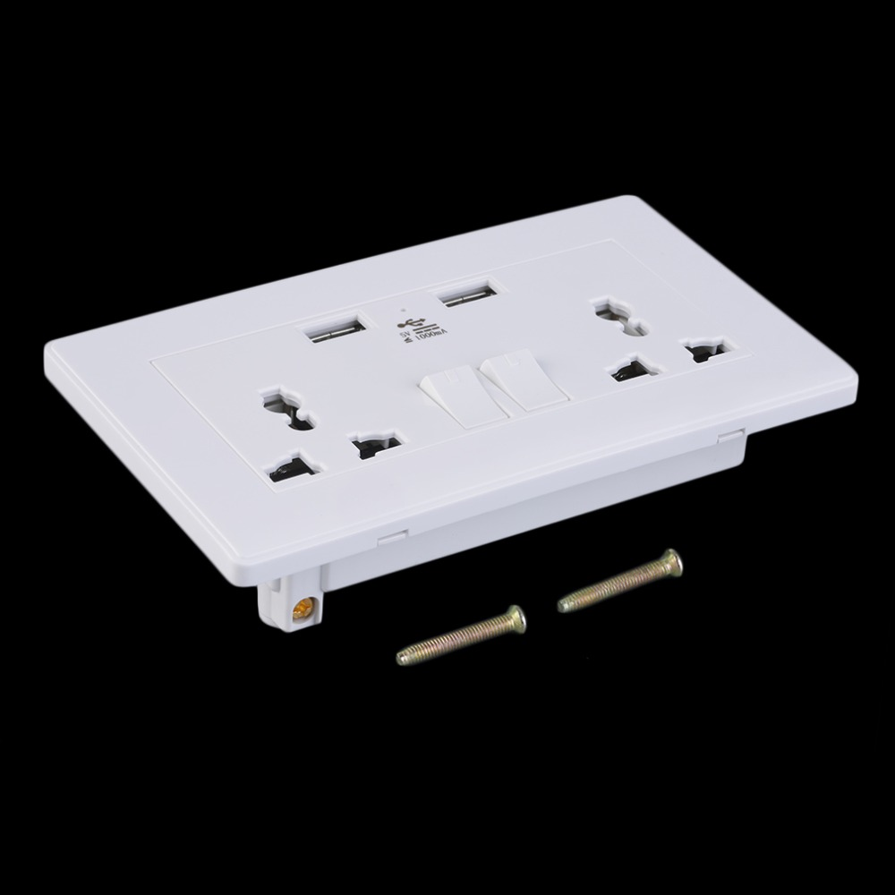 ФОТО 3pcs 2 Gang 1000mA Wall Socket Dual USB Port Outlets Plate Panel Universal Plug High Quality
