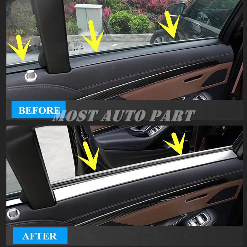 Inner Car Rear Door Window Edge Trim Cover 4pcs For Benz S Class W222 2014-2018