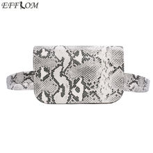 EFFLOM New Vintage Serpentine PU Leather Women Waist Pack High Quality Fanny Fashion Snake Skin Bag for Girls