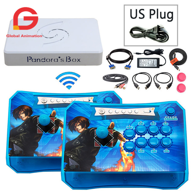 2 Players Pandora Box 6 1300 In 1 Wireless Stick Arcade Controller Joystick Console Can Add 3000 Games FBA MAME PS1 3D