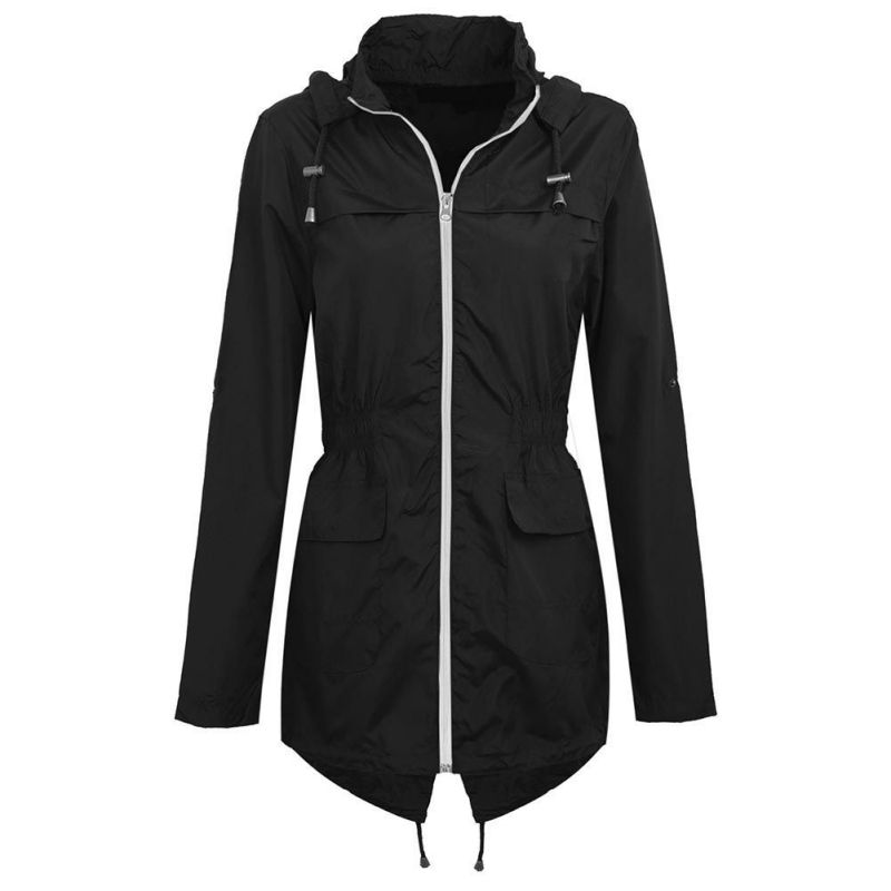 Women's Autumn Classic With Coats Casual   Trench   Coat Slim Hood Waist Outdoor Outwear