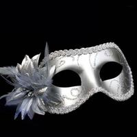 Silver Lace Color Patter Mask With Flower For Sexy Prom Party Halloween Masquerade Dance Masks Accessories