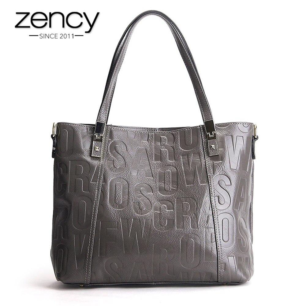 Zency Luxury Female Shoulder Bag 100% Natural Leather Fashion Grey Messenger Lady Charm Dark Red Handbag Quality A+ Crossbody dark grey nubuck leather handbag