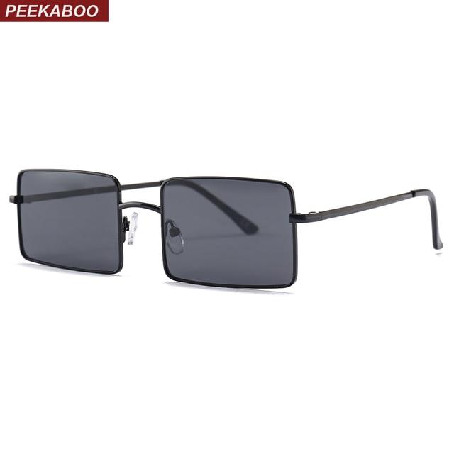 Peekaboo retangular óculos de sol das mulheres dos homens de metal quadro  2018 óculos de sol b56a06bccd