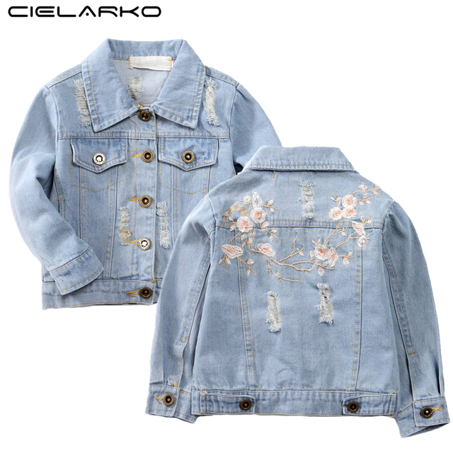 7503b1dadc93c Cielarko Denim Girls Jacket Flower Embroidery Coat Spring Children  Outerwear Light Blue Fashion Kids Clothing for Girl 2-8 Years