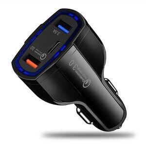 Image 1 - 빠른 충전 3.0 자동차 충전기 5 v 3.5a qc3.0 pd usb 유형 c 빠른 충전 듀얼 자동차 휴대 전화 충전기 아이폰 7 삼성 xiaomi