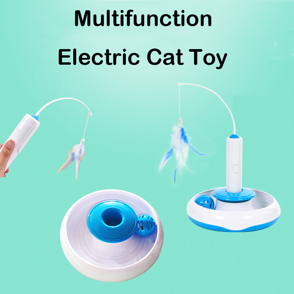 New Electric Cat Toys Interactive Toys With Feather Automatic Rotation Games For Cats Multifunction Toy Pet Cat Ball