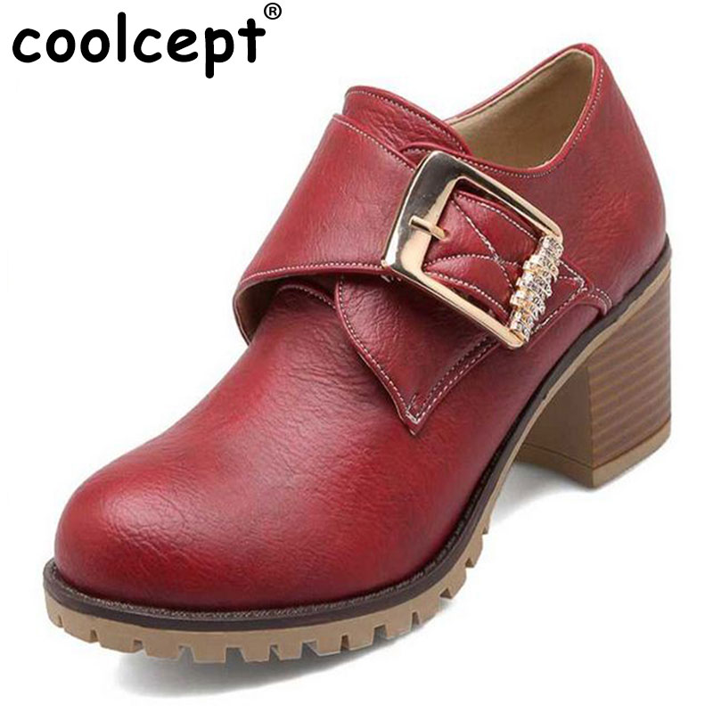 Coolcept Women Pumps Roman Style Chunky Med High Heels Buckle Up Wedding Casual Shoes Round Toe Platform Pumps Size 34-43 2017 shoes women med heels tassel slip on women pumps solid round toe high quality loafers preppy style lady casual shoes 17