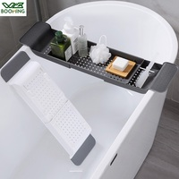 WBBOOMING Bathtub Storage Rack Bath Tray Shelf Shower Tub Bathroom Tool Makeup Towel Organizer Plastic Kitchen Sink Drain Holder