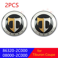 Genuine T Logo Emblem Set 2pcs Front cover + Rear luggage mark For Hyundai Tiburon Coupe 2001 2008 863202C700 863302C000