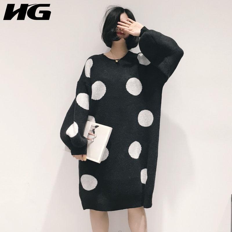 HG lâche robe de grande taille chandail femmes Vintage vague Point lanterne manches O cou 2019 nouveau automne longs pulls dames WQR1185