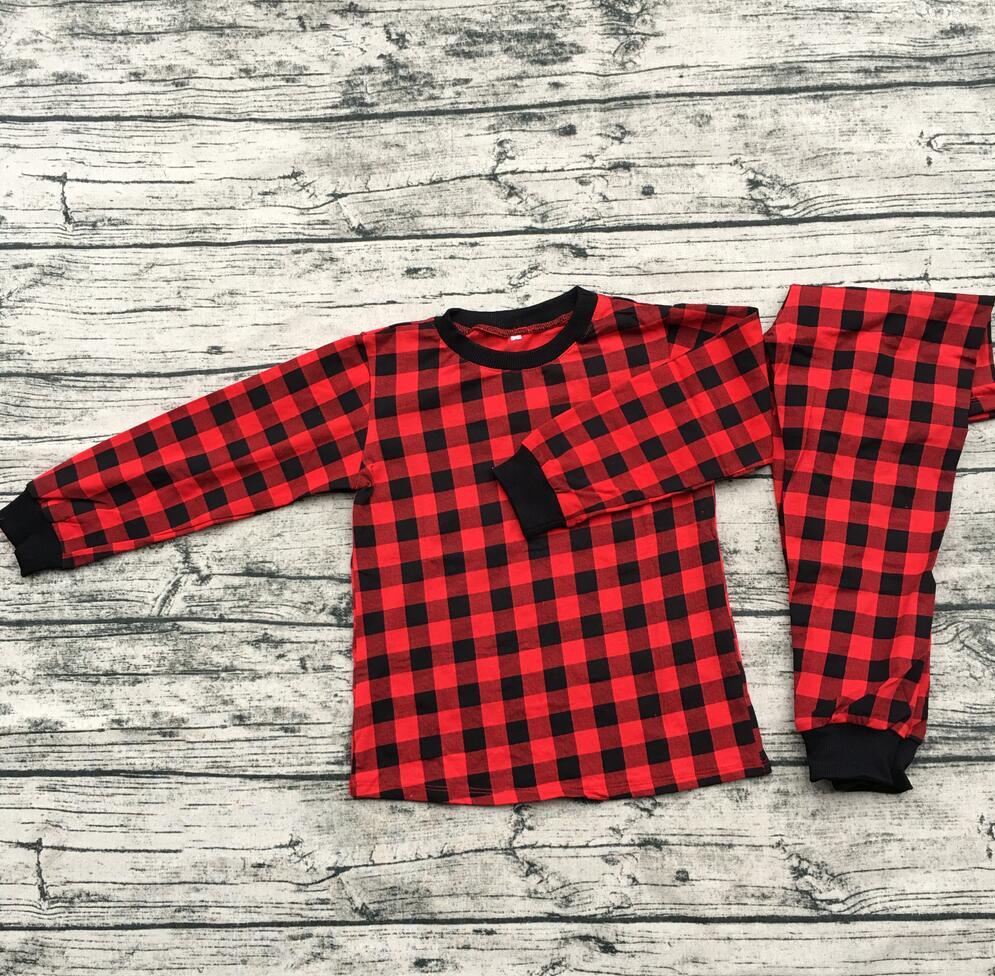 fashion red black plaid children pajamas toddler long sleeve christmas clothing set