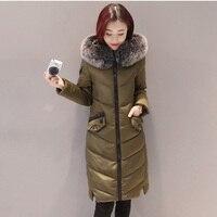 2018 New Womens Autumn Winter long Coat Thick Cotton Warm Faux Fur Female Hooded Grey Black Parka LJ0440