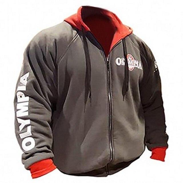 9f5595f2bde5 2019 OLYMPIA sudaderas con cremallera para hombre moda Casual Hombre gyms  fitness Bodybuilding algodón sudadera ropa deportiva marca top coat