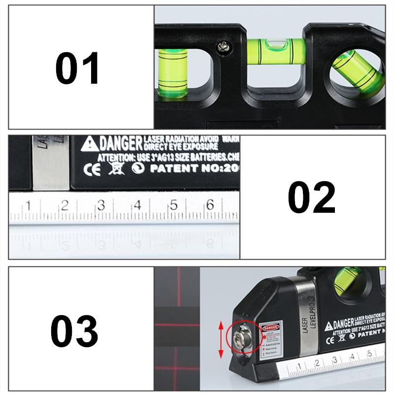 FJS 3 In 1 Laser Level Cross Linie Laser Mit Maßband 2,5 Mt Laser Kennzeichnung Multitool Construction Tools