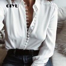 GIYU 5XL Women Solid Chiffon Shirts Long Sleeve Tee Buttons Sexy Loose Tops Casual Turn-down Collar camiseta mujer