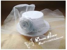 Classic new arrival top clamp imitation pearl white rose flowers decorate veil small hat hairpin hair accessories headwear D063