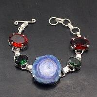 Multi Gems Natural Solar Quartz GreenTopaz Garnet 925 Sterling Silver Links Chain Bracelet 7.75 Inch TF463