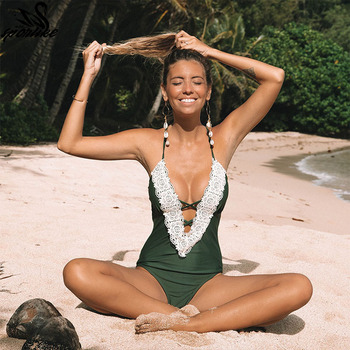 One Piece Swimsuit 2018 Sexy Swimwear Women Bathing Suit Swim Vintage Summer Beach Wear Print Bandage Monokini Swimsuit