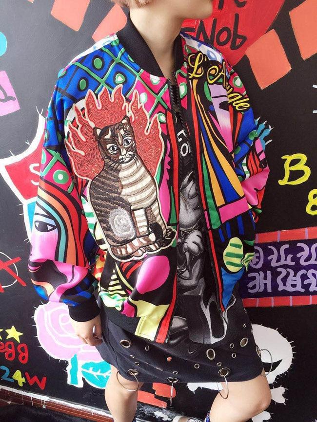 Abrigo Con Bomber Reina De Casual Básico Béisbol Mujer Chaquetas Piloto Harajuku Para Bordado 2018 Chaqueta Estampado AFzRxaqR