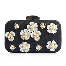 Vrouwen Clutch Avondtasje Party Bloem Glitter Chain Handtassen Bruiloft Prom Purse(China)