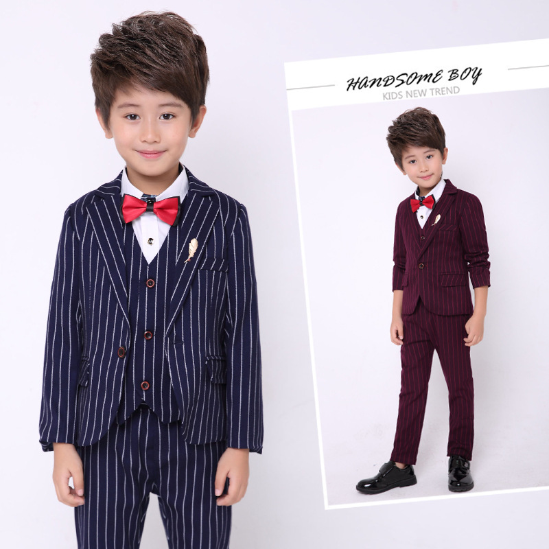Boy Clothing Striped Kids wedding Suits Formal Child Boy Tuxedo Toddler Boy Dress Suits Jacket Pant Vest Tie 5Pcs Sets H47 boys clothing set striped vest pant shirt suits formal outfits kids school uniform baby children wedding party boy clothes sets