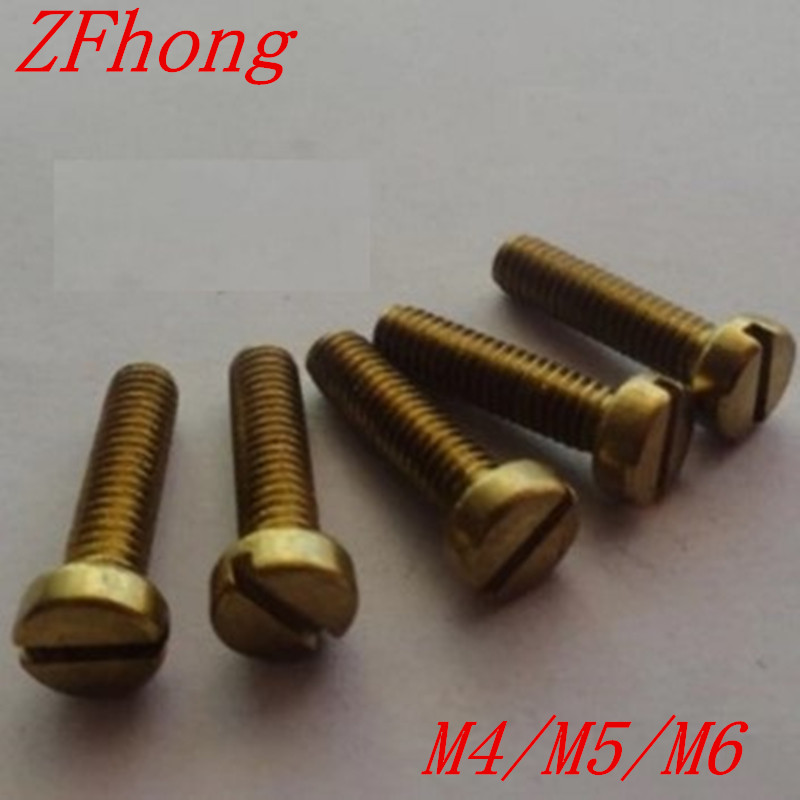 100 шт. DIN84 M4 M5/6/8/10/12/16/20/25/30 латунные шлицевые винты для сыра