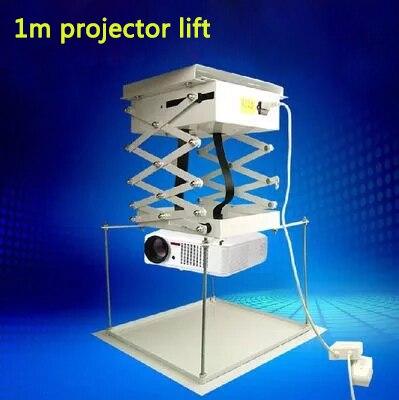 1 M projecteur support motorisé électrique ascenseur ciseaux avec télécommande électrique plafond support pour cinéma église Hall école