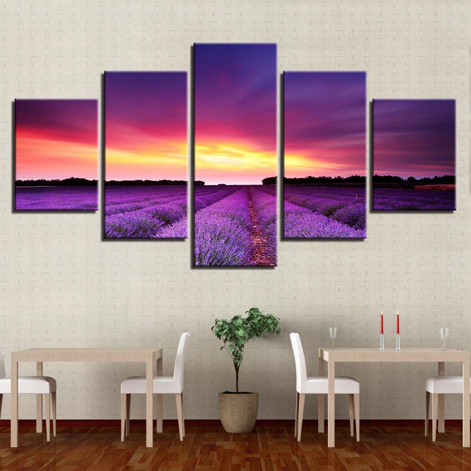 Canvas HD Prints Pictures Home Decor Framework 5 Pieces Sunset Glow Purple Lavender Fields Landscape Paintings Wall Art Posters