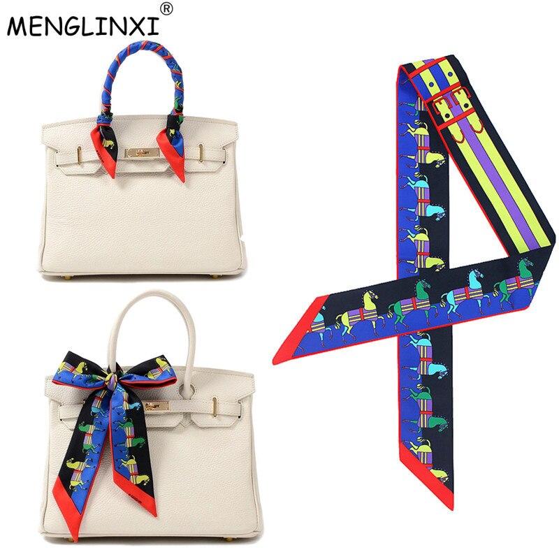 Hot Sale Carriage Bag Scarf Womens Silk Scarf 2020 New Headwear Fashion Head Scarf Brand Handle Bag Ribbons Small Long Scarves