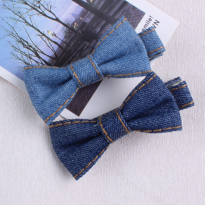 Denim Bow brasiliansk stil Kids Baby Hair Clip Pin Bows Hairpin Fashion Tilbehør til Girl Children Hairclip Barrette Headdress