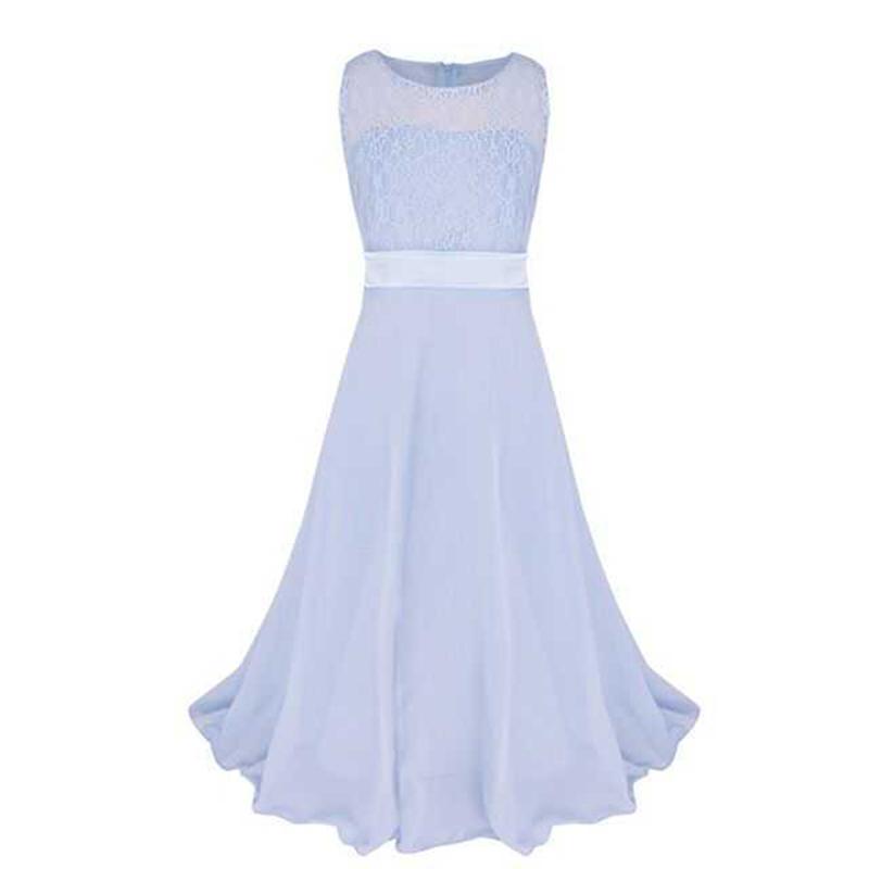 Summer Girls Dress Chiffon Sleeveless Infant Long Dress O Neck Girl Wedding Dresses Lace Kids Party Clothes Children Clothing (11)