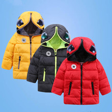 Children Down Jacket Coat Boy And Girl 2016 Fashion With Glasses Superman Winter Thick Warm Cotton Long Outerwear