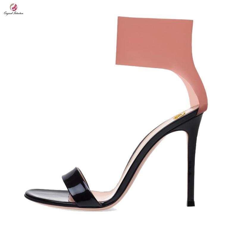 Original Intention Women Gladiator Sandals Sexy Open Toe Thin High Heels Sandals Elegant Black Red Shoes Woman Plus US Size 5-14 equte rssc4c99s5 fashionable elegant titanium steel women s ring black us size 5