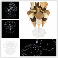 8 Cones Ice Cream Cake Candy Holder Transparent Acrylic Wedding Buffet Display Round Stand Party Decor