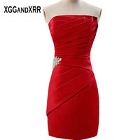 New Arrival Red Satin Mini Sheath Cocktail Dresses 2018 Strapless Beaded Zipper Back Off Shoulder Special