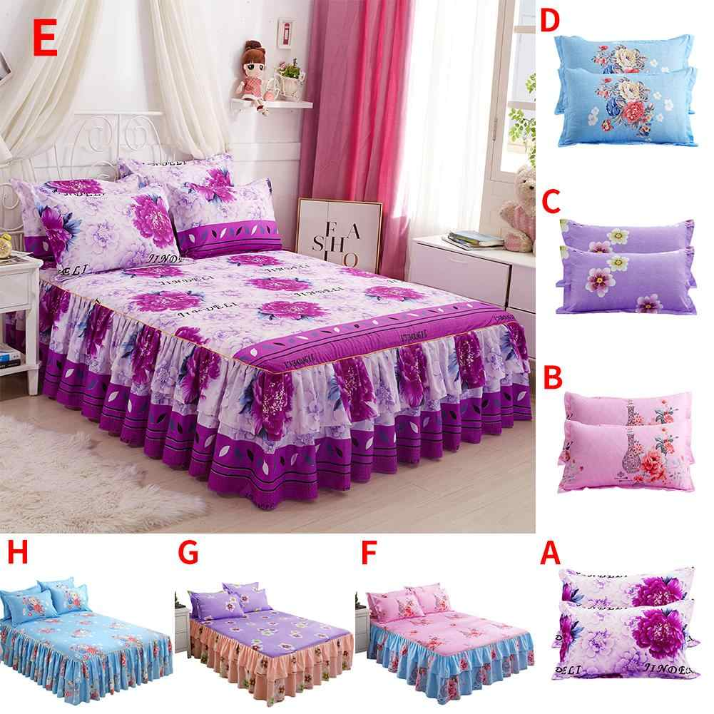 Bed Skirt Mattress Cover Queen Size Double-Layer Cotton Bedspread 3PCs Set Including 1 Bedspread 2 Pillowcases Flower Series