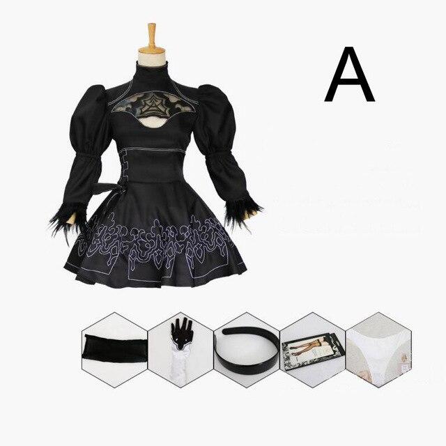 2B Cosplay NieR:Automata YoRHa No.2 Type B Black Dress Cosplay  Nier Automatas 2B Costume 6 Set