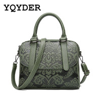 YQYDER Women Bag Embossed Floral Pattern Hand Bag Vintage Messenger Bag Ladies Designer Pu Shoulder Bag