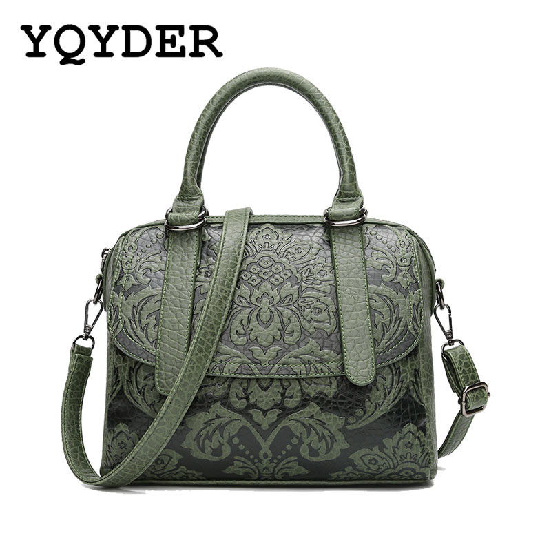 YQYDER Women Bag Embossed Floral Pattern Hand Bag Vintage Messenger Bag Ladies Designer Pu Shoulder Bag Casual Tote Sac a main embossed pu leather casual 3 pieces tote bag set