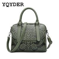 YQYDER Women Bag Embossed Floral Pattern Hand Bag Vintage Messenger Bag Ladies Designer Pu Shoulder Bag Casual Tote Sac a main