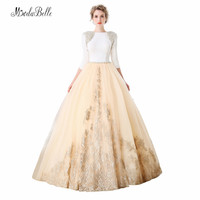 modabelle Brautkle 2018 Arab Wedding Dresses Long Train Ball Gown Islamic Wedding Gowns Pearls Beaded Champagne Bride Dress
