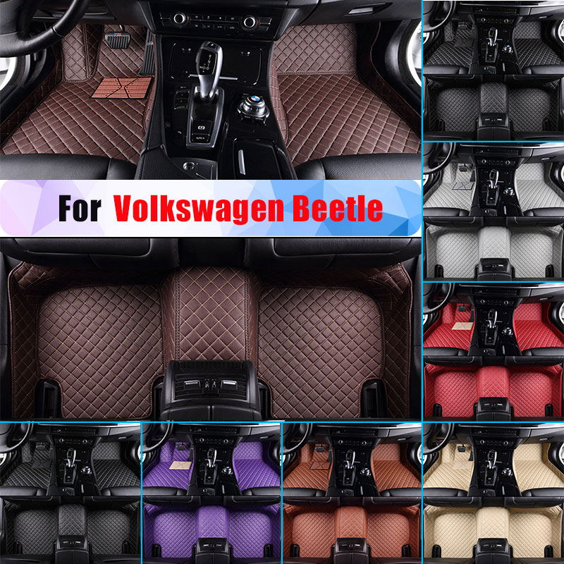 Waterproof Car Floor Mats For Volkswagen Beetle All Season Car Carpet Floor Liner Artificial Leather Full Surrounded