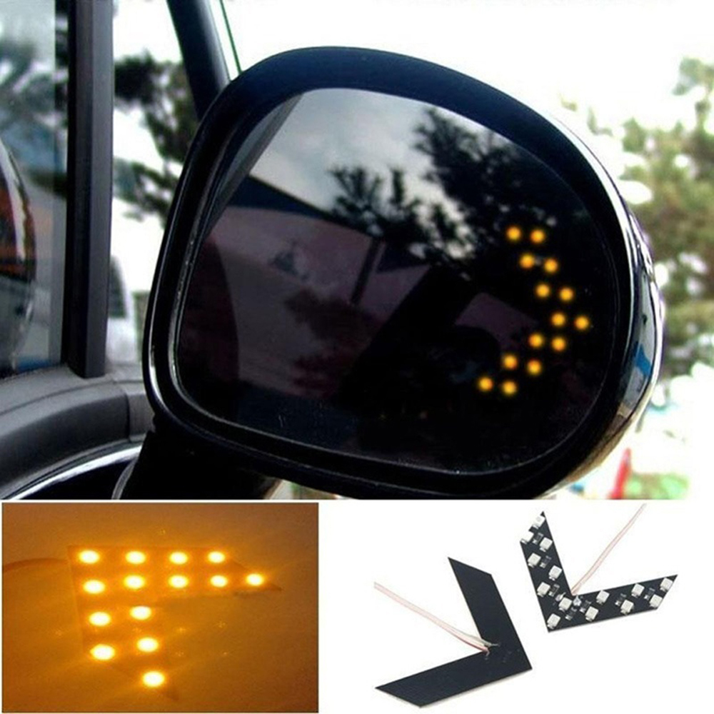2 X LED Arrow Panel 14 SMD For Car Rear View Mirror Indicator Turn Signal Light Car LED Rearview Mirror Light Car Led Car Light