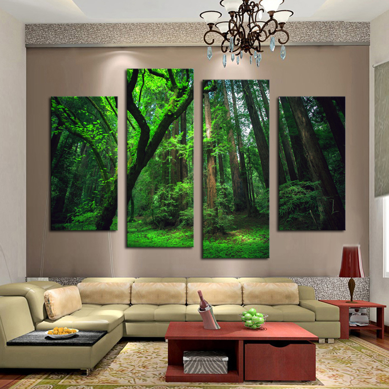 Aliexpress Com Buy 4 Panels Modern Printed Coffee Canvas: Aliexpress.com : Buy Unframed 4 Panel Beautiful The Forest