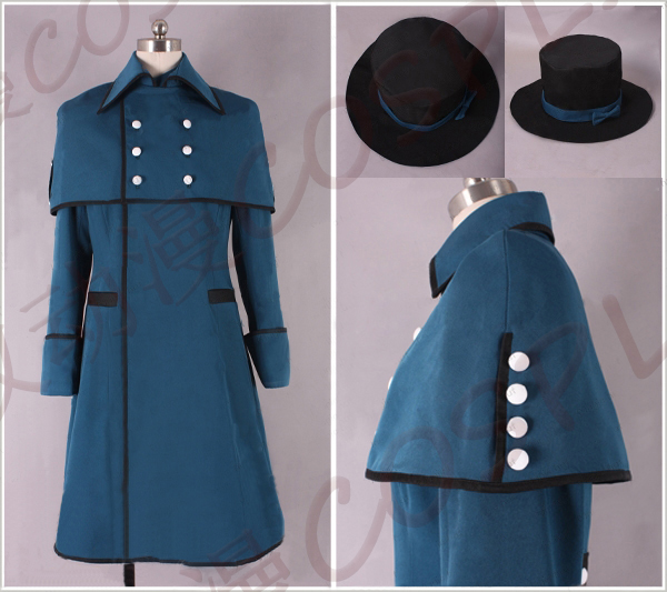 Anime Black Butler Ciel Phantomhive Birthday Party Cosplay Costume Halloween Medieval COS Uniform Unisex Coat+Cape+Hat+Blinder