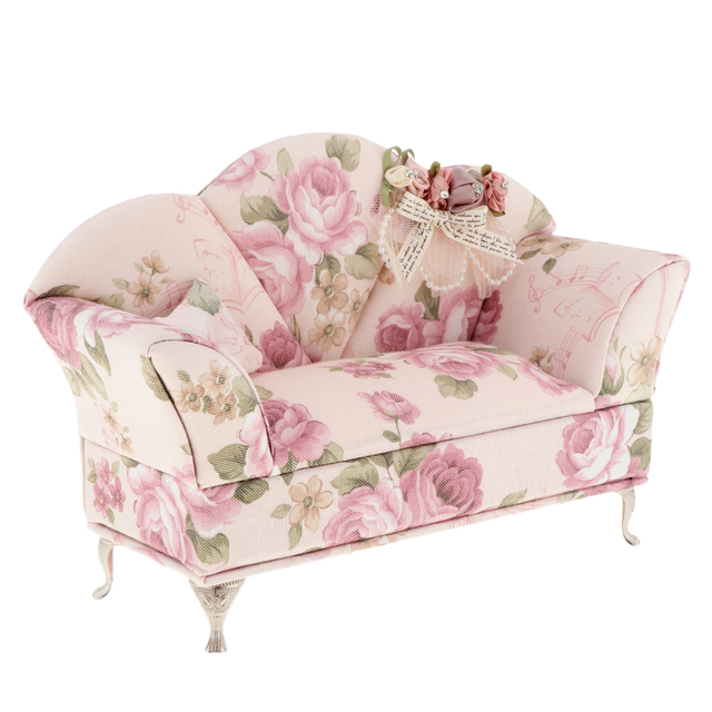 1/6 Scale Pink Velvet Sofa Couch Furniture For For Barbie Doll 12u0027u0027